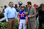 January 16, 2016: Owner Mike Rutherford and Jockey Florent Geroux is interviewed after winning the Silverbulletday Stakes race in New Orleans Louisiana. Steve Dalmado/ESW/CSM