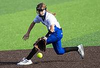 Shortstop, Amelia Haak (11) of Rogers stops ball against Bentonville at Rogers High School, Rogers, Arkansas, on Tuesday, April 6, 2021 / Special to NWA Democrat Gazette