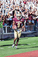 Texas State wide receiver C.J. Best (9) celebrates a touchdown during first half of NCAA Football game, Saturday, August 30, 2014 in San Marcos, Tex. Texas State leads Arkansas Pine-Bluff 42-0 at the halftime. (Mo Khursheed/TFV Media via AP Images)