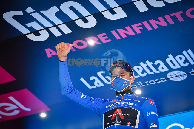 Filippo Ganna (ITA) Ineos Grenadiers wins Stage 5 and takes over the mountains Maglia Azzurra of the 103rd edition of the Giro d'Italia 2020 running 225km from Mileto to Camigliatello Silano, Sicily, Italy. 7th October 2020.  <br /> Picture: LaPresse/Massimo Paolone | Cyclefile<br /> <br /> All photos usage must carry mandatory copyright credit (© Cyclefile | LaPresse/Massimo Paolone)