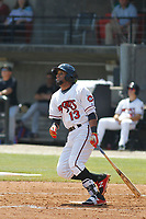 Carolina Mudcats infielder Wendell Rijo (13) at bat during a game against the Down East Wood Ducks on April 27, 2017 at Five County Stadium in Zebulon, North Carolina. Carolina defeated Down East 9-7. (Robert Gurganus/Four Seam Images)