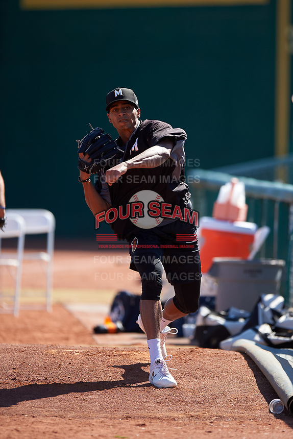 Modesto Nuts pitcher Raymond Kerr (22) warms up before a California League game against the Inland Empire 66ers on April 10, 2019 at San Manuel Stadium in San Bernardino, California. Inland Empire defeated Modesto 5-4 in 13 innings. (Zachary Lucy/Four Seam Images)