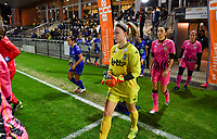 Charleroi's players  with goalkeeper Ambre Collet (1 Charleroi) pictured enterring the pitch during a female soccer game between  AA Gent Ladies and Sporting Charleroi Feminin on the fifth matchday of the 2020 - 2021 season of Belgian Scooore Womens Super League , friday 16 th of October 2020  in Oostakker , Belgium . PHOTO SPORTPIX.BE | SPP | DAVID CATRY