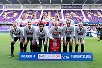 ORLANDO, FL - FEBRUARY 21: The USWNT poses for their starting XI photo before a game between Brazil and USWNT at Exploria Stadium on February 21, 2021 in Orlando, Florida.
