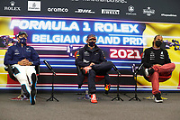 28th August 2021; Spa Francorchamps, Stavelot, Belgium: FIA F1 Grand Prix of Belgium, qualifying sessions;  F1 Grand Prix of Belgium 63 George Russell GBR, Williams Racing, 33 Max Verstappen NED, Red Bull Racing, 44 Lewis Hamilton GBR, Mercedes-AMG Petronas F1 Team at press conference