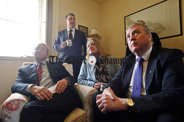 Enda Kenny, Taoiseach, is interviewed for local media during his visit to Loop Head to launch the Fine Gael tourism initiative. Looking on are Clare candidates Councillor Mary Howard, Joe Carey, TD and Pat Breen, TD. Photograph by John Kelly.