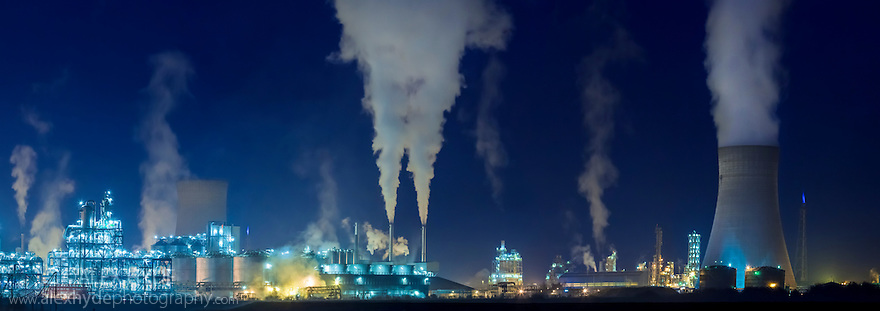 Saltend Chemical Plant at night, Kingston upon Hull, East Yorkshire, England, UK. Digitally stitched panorama.