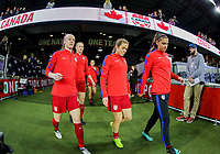 San Jose, CA - Sunday November 12, 2017: Becky Sauerbrunn, Kelley O'Hara, Alex Morgan during an International friendly match between the Women's National teams of the United States (USA) and Canada (CAN) at Avaya Stadium.