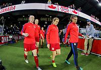 San Jose, CA - Sunday November 12, 2017: Becky Sauerbrunn, Kelley O'Hara, Alex Morgan during an International friendly match between the Women's National teams of the United States (USA) and Canada (CAN) at Avaya Stadium.