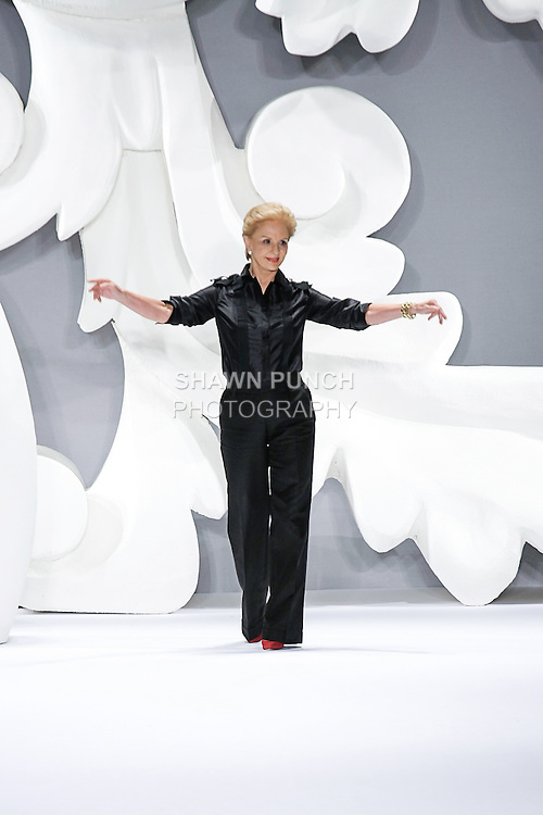 Fashion icon Carolina Herrera thanks audience for attending her Carolina Herrera Spring 2013 Timeless Influence collection fashion show, during Mercedes-Benz Fashion Week Spring 2013 in New York City.