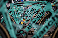Celeste green Bianchi bikes by Team LottoNL-Jumbo ready for the 72nd Omloop Het Nieuwsblad 2017