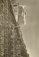 historical aerial photograph of Merrill C. Meigs Field Airport, Northerly Island, Chicago, Illinois,  1952