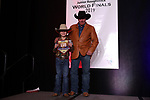 Kade King during the bareback and saddle bronc back  number  presentation at the Junior World Finals Rodeo. Photo by Andy Watson. Written permission must be  provided  to use  this  photo  in any manner.