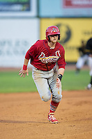 Luke Doyle (18) of the Johnson City Cardinals takes off for third base during the game against the Bristol Pirates at Boyce Cox Field on July 7, 2015 in Bristol, Virginia.  The Cardinals defeated the Pirates 3-1 in game two of a double-header. (Brian Westerholt/Four Seam Images)