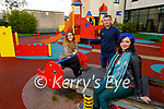 Local Killorglin residents at the playground on Monday and are hoping the playground can receive a deep clean, l to r: Lisa Kelliher, Councillor John Francis Flynn and Madeline Kalanowska