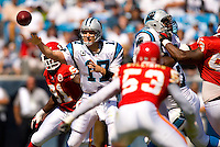 Carolina Panthers quarterback Jake Delhomme (17) throws a pass against the Kansas City Chiefs during a NFL football game at Bank of America Stadium in Charlotte, NC.