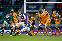 21st May 2021; Twickenham, London, England; European Rugby Challenge Cup Final, Leicester Tigers versus Montpellier; Jasper Wiese of Leicester Tigers makes a tackle