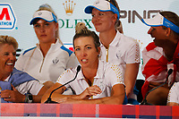 6th September 2021: Toledo, Ohio, USA;  Mel Reid of Team Europe speaks at a press conference after Team Europe retained the Solheim Cup during the Solheim Cup on September 6, 2021 at Inverness Club in Toledo, Ohio.