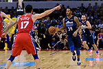 Devin Harris of Dallas Mavericks (R) in action during the NBA China Games 2018 match between Dallas Mavericks and Philadelphia 76ers at Universiade Center on October 08 2018 in Shenzhen, China. Photo by Marcio Rodrigo Machado / Power Sport Images