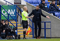Bolton Wanderers' head coach Ian Evatt remonstrates with the referee's assistant.<br /> <br /> Photographer Andrew Kearns/CameraSport<br /> <br /> The EFL Sky Bet League Two - Bolton Wanderers v Oldham Athletic - Saturday 17th October 2020 - University of Bolton Stadium - Bolton<br /> <br /> World Copyright © 2020 CameraSport. All rights reserved. 43 Linden Ave. Countesthorpe. Leicester. England. LE8 5PG - Tel: +44 (0) 116 277 4147 - admin@camerasport.com - www.camerasport.com