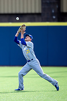 San Jose State Spartans outfielder Connor Konishi (25) makes a catch against the Michigan Wolverines on March 27, 2019 in Game 1 of the NCAA baseball doubleheader at Ray Fisher Stadium in Ann Arbor, Michigan. Michigan defeated San Jose State 1-0. (Andrew Woolley/Four Seam Images)
