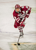 15 November 2015: University of Massachusetts Minuteman Forward Steven Iacobellis, a Junior from Port Coquitlam, British Columbia, in action against the University of Vermont Catamounts at Gutterson Fieldhouse in Burlington, Vermont. The Minutemen rallied from a three goal deficit to tie the game 3-3 in their Hockey East matchup. Mandatory Credit: Ed Wolfstein Photo *** RAW (NEF) Image File Available ***