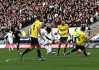 Marvin Emnes of Swansea shoots at the goal   during the Emirates FA Cup 3rd Round between Oxford United v Swansea     played at Kassam Stadium  on 10th January 2016 in Oxford
