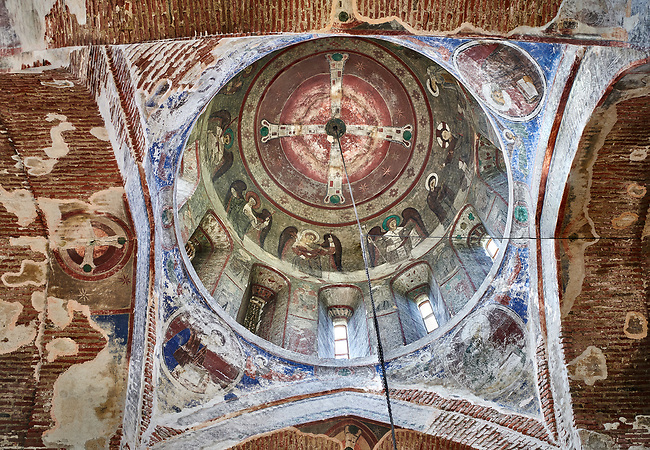 """Pictures & imagse of the interior cupola frescoes of the Timotesubani medieval Orthodox monastery Church of the Holy Dormition (Assumption), dedcated to the Virgin Mary, 1184-1213, Samtskhe-Javakheti region, Georgia (country).<br /> <br /> Built during the reigh of Queen Tamar during the """"Golden Age of Georgia"""", Timotesubani Church of the Holy Dormition is one of the most important examples of medieval Georgian architecture and art. <br /> <br /> The interior frescoes of date from the 11th - 13th century so the Timotesubani church of the Dormition is a treasure trove of medieval Georgian art created during the reign of Queen Tamar. The fresco murals have been rescued and preserved by the Global Fund of Cultural Heritage."""