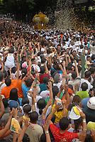 A imagem de Nossa Senhora de Nazaré é trazida dentro de um andor na avenida presidente Vargas, uma das principais de Belém ,  durante a maior procissão religiosa do país, que este ano conforme estimativas foi acompanhada por mais de 1,5 milhão de fiéis.<br /> 12/10/2008<br /> Belém, Pará, Brasil.<br /> Foto Paulo Santos/Interfoto