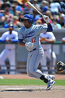 Chattanooga Lookouts third baseman Daniel Mayora #17 swings at a pitch during a game against the Chattanooga Lookouts at Smokies Park on April 10, 2014 in Kodak, Tennessee. The Lookouts defeated the Smokies 1-0. (Tony Farlow/Four Seam Images)