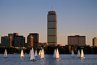Massachusetts, Boston; Collegiate Sailing On Charles River; Prudential Tower, Back Bay & Boston Skyline In Backgroun