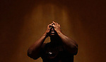 Laker center Shaquille O Neal is caught in a shaft of light at the Four Seasons Hotel in Beverly Hills, Ca. When the Lakers are losing, everyone wants to know what's going on with Shaq.