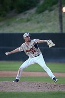 Jordan Qsar (34) of the Pepperdine Waves pitches against the Fresno State Bulldogs at Eddy D. Field Stadium on March 7, 2017 in Los Angeles, California. Pepperdine defeated Fresno State, 8-7. (Larry Goren/Four Seam Images)