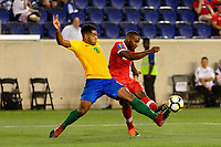 Harrison, NJ - Friday July 07, 2017: Jean-David Legrand, David Junior Hoilett during a 2017 CONCACAF Gold Cup Group A match between the men's national teams of French Guiana (GUF) and Canada (CAN) at Red Bull Arena.