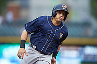 Mikie Mahtook (9) of the Toledo Mud Hens hustles towards third base against the Charlotte Knights at BB&T BallPark on April 25, 2019 in Charlotte, North Carolina. The Mud Hens defeated the Knights 11-7. (Brian Westerholt/Four Seam Images)