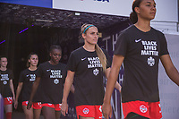 ORLANDO, FL - FEBRUARY 24: Shelina Zadorsky #4 of the CANWNT walks out of the tunnel before a game between Brazil and Canada at Exploria Stadium on February 24, 2021 in Orlando, Florida.