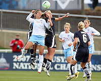 Allie Long of the Washington Freedom goes up for a header with Cristiane of the Chicago Red Stars during a WPS match at Maryland Soccerplex on April 11 2009, in Boyd's, Maryland.  The game ended in a 1-1 tie.