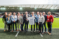 Swansea shirt sponsors ahead of the Premier League match between Swansea City and Liverpool at The Liberty Stadium on October 1, 2016 in Swansea, Wales.