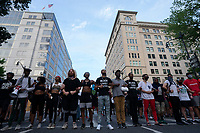 Demonstrators march to the White House in Washington D.C., U.S., on Tuesday, June 23, 2020.  Trump tweeted that he authorized the Federal government to arrest any demonstrator caught vandalizing U.S. monuments, with a punishment of up to 10 years in prison.  Credit: Stefani Reynolds / CNP/AdMedia