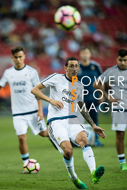 Angel Di Maria of Argentina warming up during the International Test match between Argentina and Singapore at National Stadium on June 13, 2017 in Singapore. Photo by Marcio Rodrigo Machado / Power Sport Images