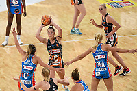 6th June 2021; Ken Rosewall Arena, Sydney, New South Wales, Australia; Australian Suncorp Super Netball, New South Wales, NSW Swifts versus Giants Netball; Jamie-Lee Price of Giants Netball looks for pass options as Maddy Proud of NSW Swifts attempts to block the pass