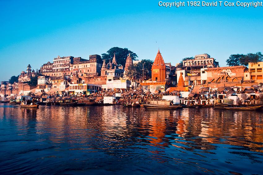 bathing and worship on gats of Ganges at sunrise, Varanasi