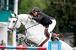 Portugal's jockey Luis Sabino with the horse Imperio Egipcio Milton during 102 International Show Jumping Horse Riding, Gran Prix of Madrid-Volvo Throphy.May, 19, 2012. (ALTERPHOTOS/Acero)