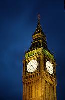 Evening view of the Big Ben clock tower. London, England.