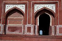Agra, India.  Side Entrance to the Taj Mahal Mosque.