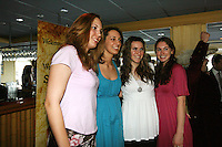 4 April 2008: Stanford Cardinal (L-R) Kayla Pedersen, Ashley Cimino, Jeanette Pohlen, and Hannah Donaghe during Stanford's 2008 NCAA Division I Women's Basketball Final Four salute dinner at the Tampa Convention Center in Tampa Bay, FL.