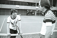 Rotterdam, The Netherlands, 15 March 1981, ABN WCT World Tennis Tournament, Ahoy,  Eric Wilborts (NED) (L) with his coach Fred Hemmes (NED)<br /> Photo: www.tennisimages.com/Henk Koster
