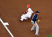 31 March 2011: Washington Nationals outfielder Jayson Werth slides safely into third against the Atlanta Braves at Nationals Park in Washington, District of Columbia. The Braves shut out the Nationals 2-0 on Opening Day to start the 2011 Major League Baseball season. Mandatory Credit: Ed Wolfstein Photo
