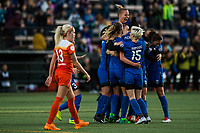 Seattle, Washington -  Saturday April 22, 2017: Seattle Reign FC celebrates during a regular season National Women's Soccer League (NWSL) match between the Seattle Reign FC and the Houston Dash at Memorial Stadium.