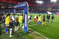 20200307  Valenciennes , France : players entering the pitch  pictured during the female football game between the national teams of France and Brasil on the second matchday of the Tournoi de France 2020 , a prestigious friendly womensoccer tournament in Northern France , on Saturday 7 th March 2020 in Valenciennes , France . PHOTO SPORTPIX.BE | DIRK VUYLSTEKE